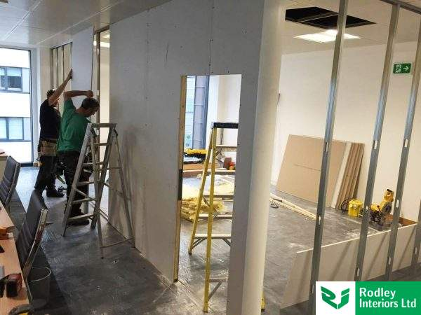 Partition fixers creating soundproof walls in Leeds