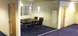 Meeting room glass partitioning