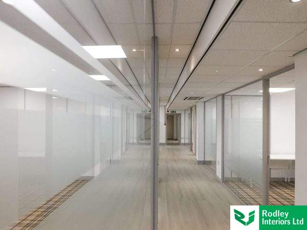 Frameless glass partitioning in Bradford