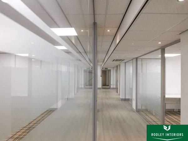 Frameless glass partitioning in Bradford