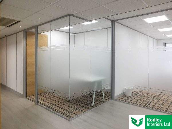 Glass partitioning for new serviced office in Bradford