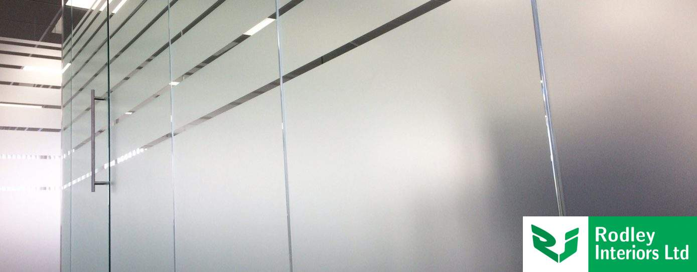 Banded manifestation film creates privacy to glass offices