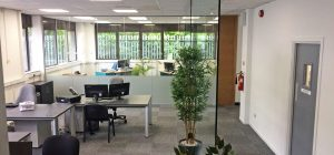 Frameless glass office partitioning