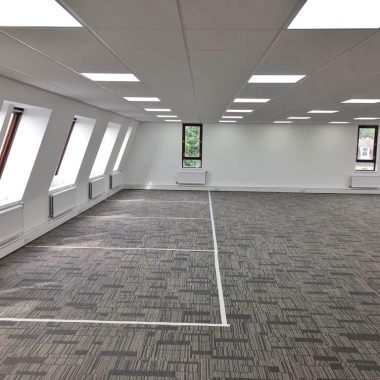 Single glazed partitioning ready to be installed