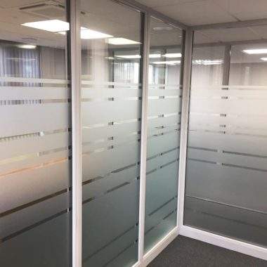 Office partitioning with glass