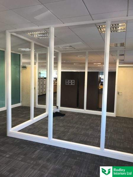 Glazed office partitioning