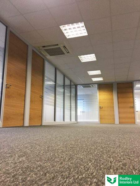 Internal glass office partitioning