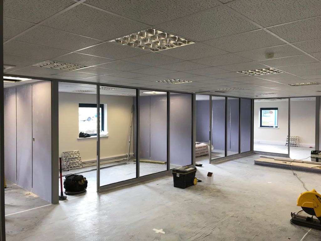 Internal Glass Office Partitioning Works In Progress
