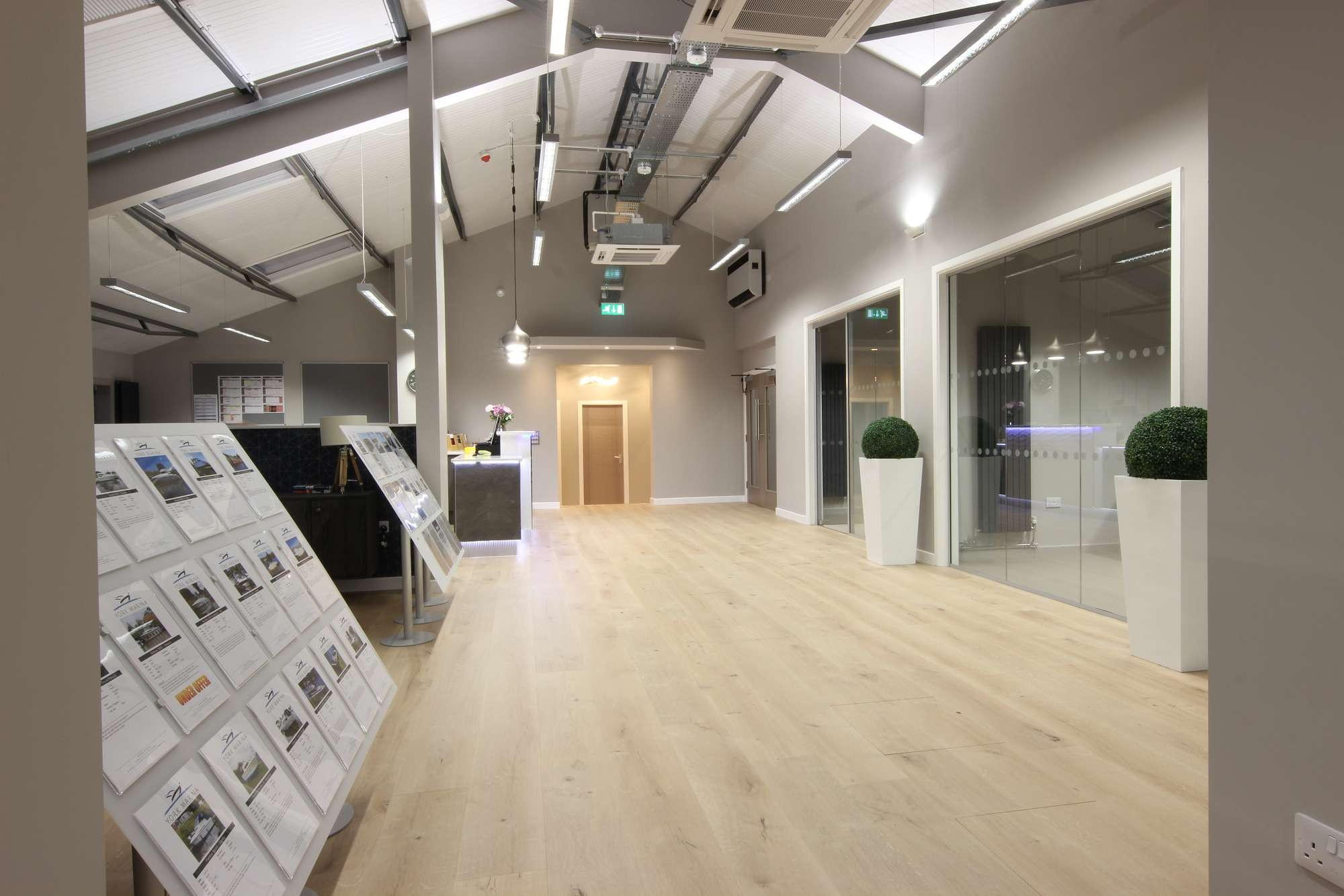 Acoustic Glass Office Partitioning creates client spaces at York Marina