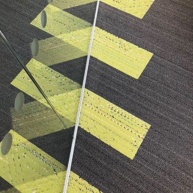 close up view of high-tech office carpet tiles