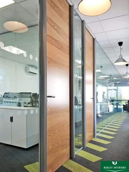 office door with cross-grain oak veneer