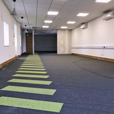 office carpet tiles in plank pattern