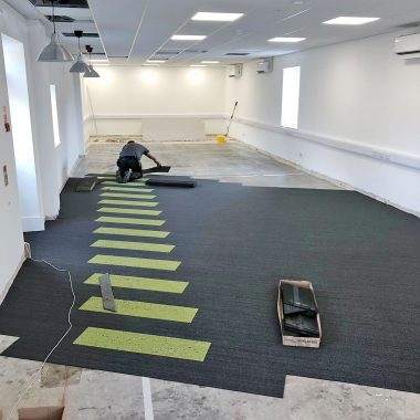 carpet tiles being fitted