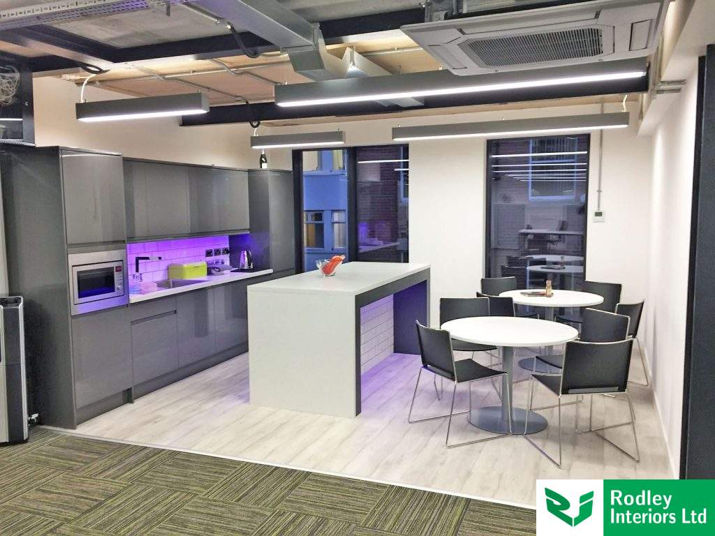 modern office kitchen with island