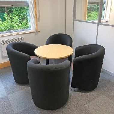 new reception table and chairs