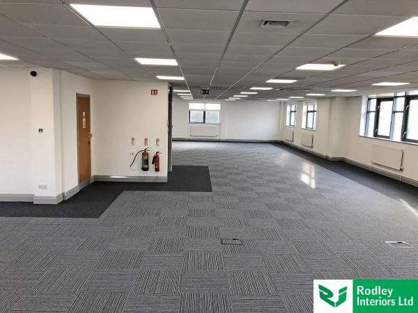 office carpet, hard-wearing tiles