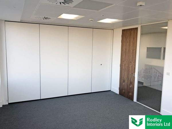 Movable office wall in closed position