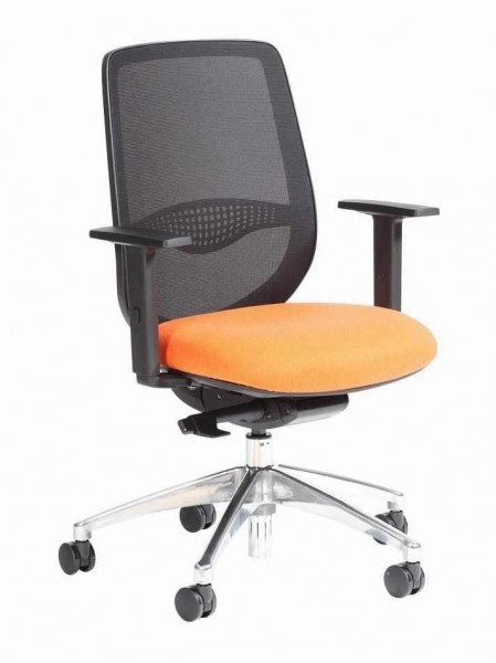 office chair with orange seat pad