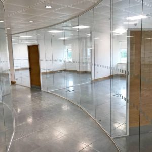 Frameless glass partitioning in wakefield