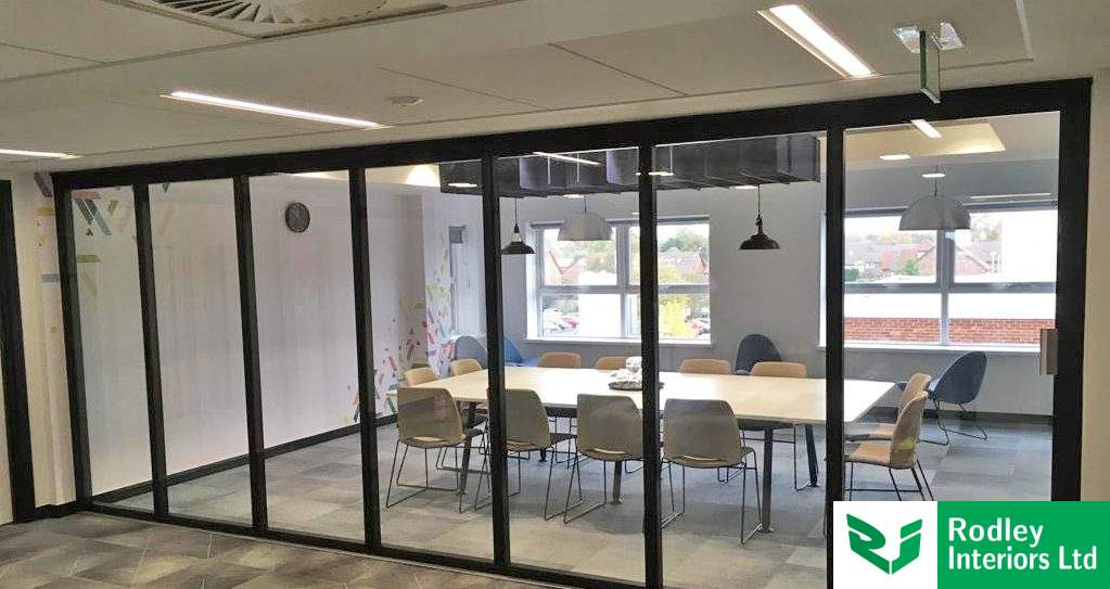 Versatile glass room dividers installed to Leeds office space