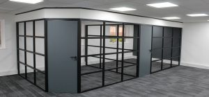 Industrial style glass partitioning