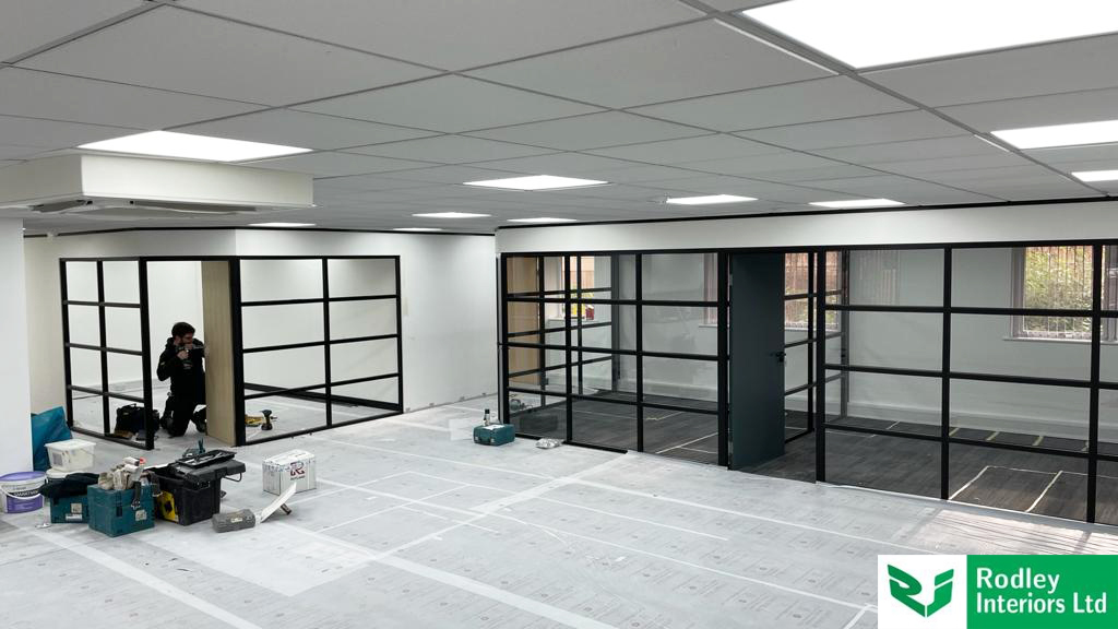Industrial style glass office