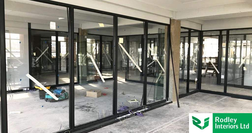 Interior industrial style glass partitions in West Yorkshire