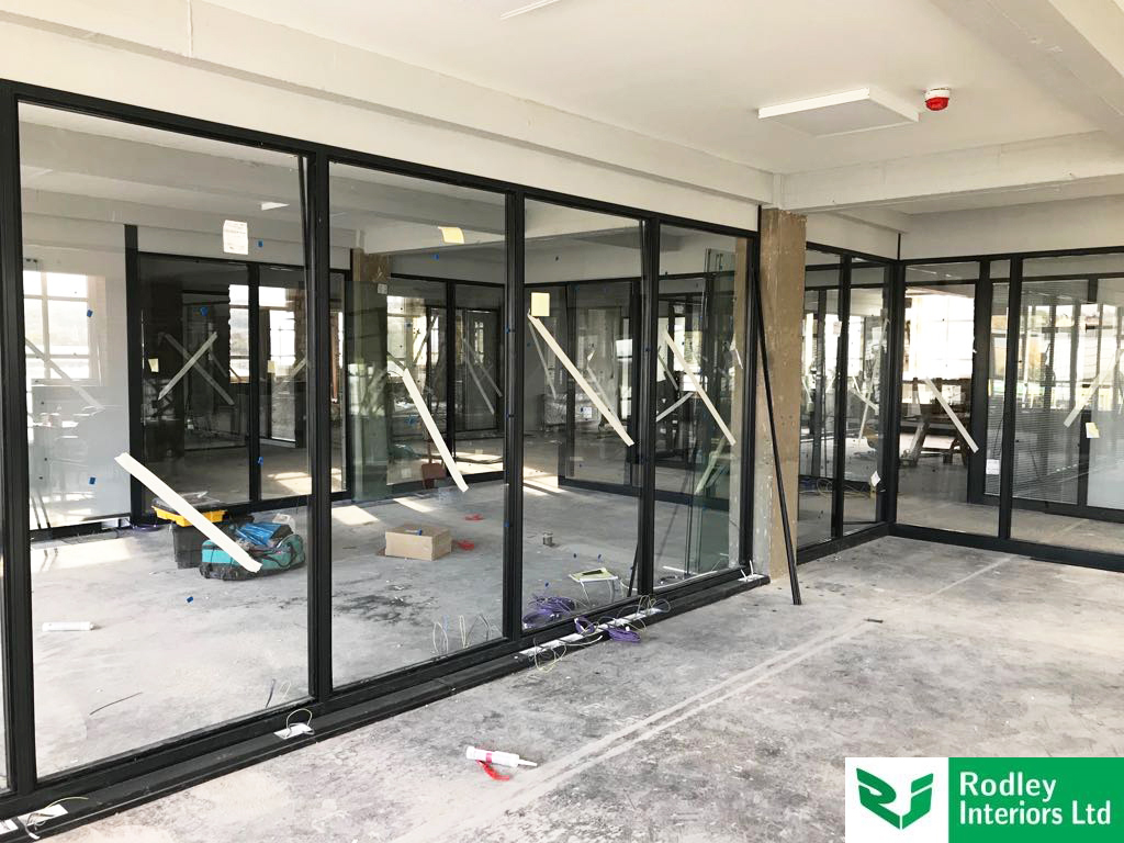 Industrial style glass partitions